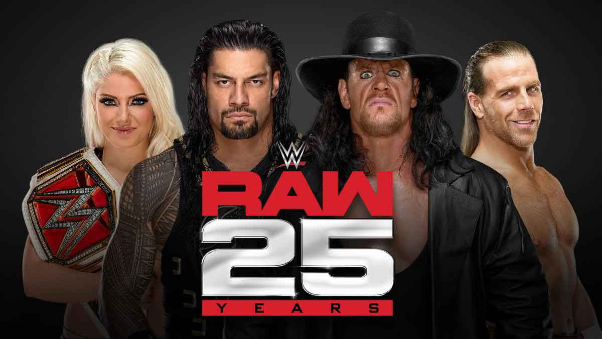 WWE RAW 25th Anniversary ,The Undertaker, Shawn Michaels ,Kevin Nash, Roman Reigns, Alexa Bliss