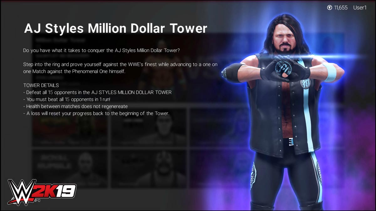 WWE 2K19 AJ Styles Million Dollar Tower