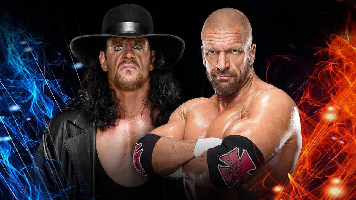 Triple H with Shawn Michaels vs. The Undertaker with Kane
