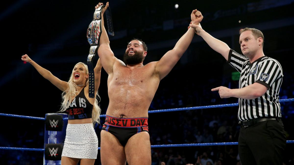 Rusev with Lana Wins the WWE United States Title