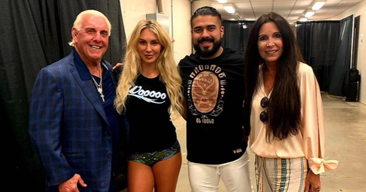 Ric Flair and his wife with Charlotte and Andrade