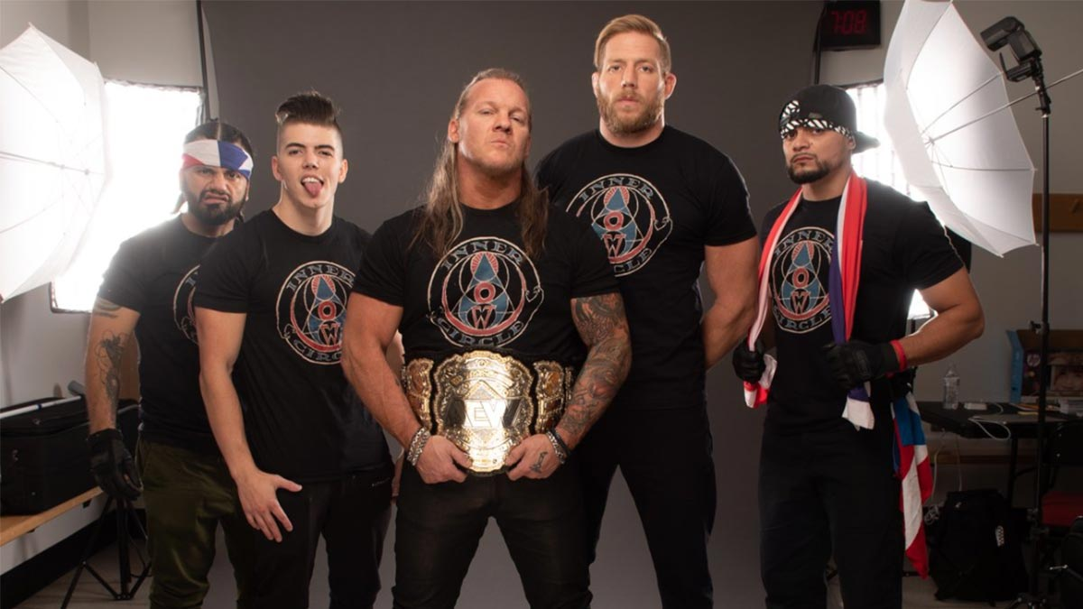 AEW Inner Circle Chris Jericho, Jake Hager, Sammy Guevara, Ortiz, and Santana