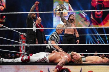 WWE WrestleMania 37 -- Roman Reigns Pins Both Edge And Daniel Bryan To Retain